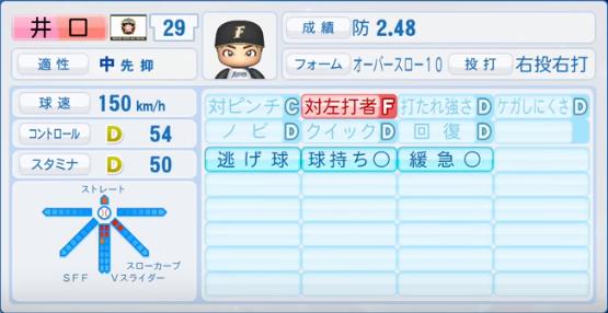 井口_日ハム_2019-4-23_パワプロ能力