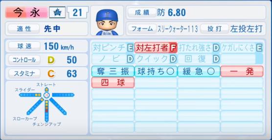 今永_横浜ベイスターズ_2019-4-23_パワプロ能力