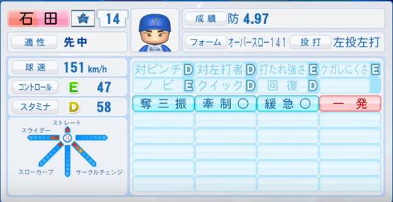 石田_横浜ベイスターズ_2019-4-23_パワプロ能力