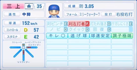 三上_横浜ベイスターズ_パワプロ能力データ_2019年シーズン終了時