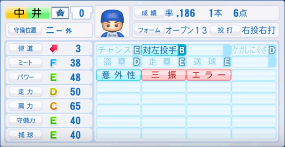 中井_横浜ベイスターズ_パワプロ能力データ_2019年シーズン終了時