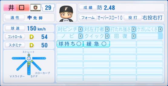 井口_日本ハム_パワプロ能力データ_2019年シーズン終了時