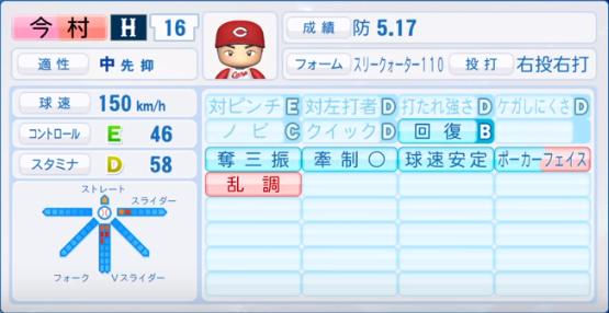 今村_広島カープ_パワプロ能力データ_2019年シーズン終了時