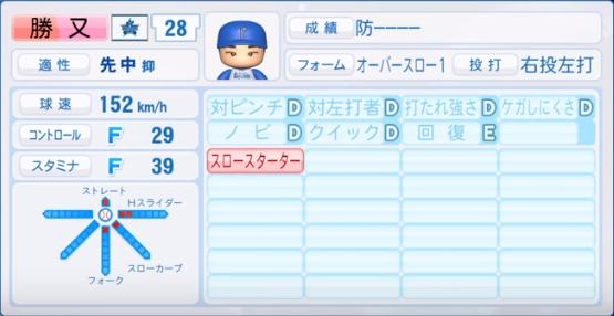 勝又_横浜ベイスターズ_パワプロ能力データ_2019年シーズン終了時