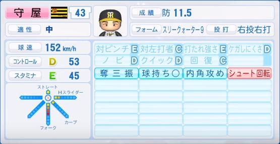 守屋_阪神_パワプロ能力データ_2019年シーズン終了時