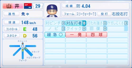 山井_中日ドラゴンズ_パワプロ能力データ_2019年シーズン終了時
