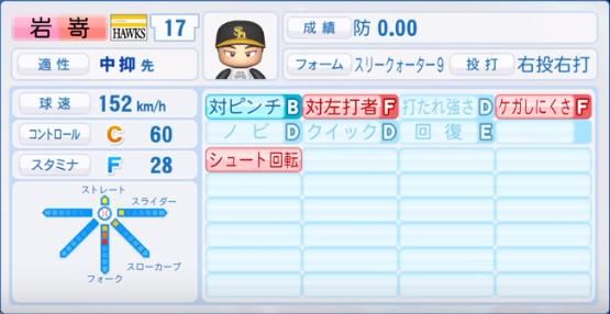 岩嵜_ソフトバンクホークス_パワプロ能力データ_2019年シーズン終了時