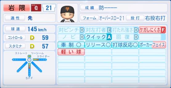 岩隈_巨人_パワプロ能力データ_2019年シーズン終了時