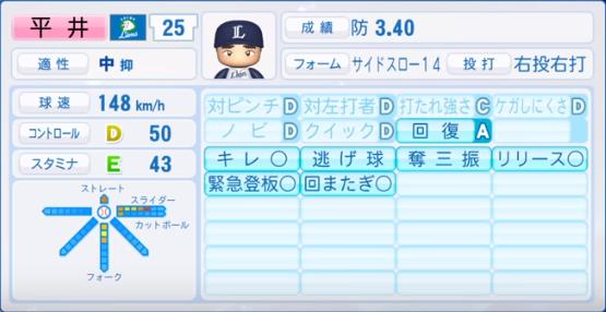 平井_西武_パワプロ能力データ_2019年シーズン終了時