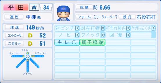 平田_横浜ベイスターズ_パワプロ能力データ_2019年シーズン終了時