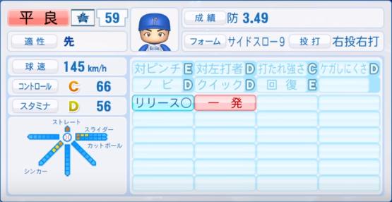 平良_横浜ベイスターズ_パワプロ能力データ_2019年シーズン終了時