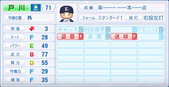 戸川_西武_パワプロ能力データ_2019年シーズン終了時