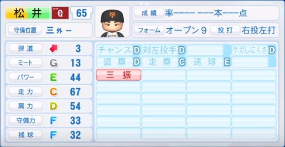 松井_巨人_パワプロ能力データ_2019年シーズン終了時