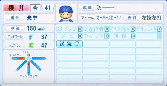 櫻井_横浜ベイスターズ_パワプロ能力データ_2019年シーズン終了時
