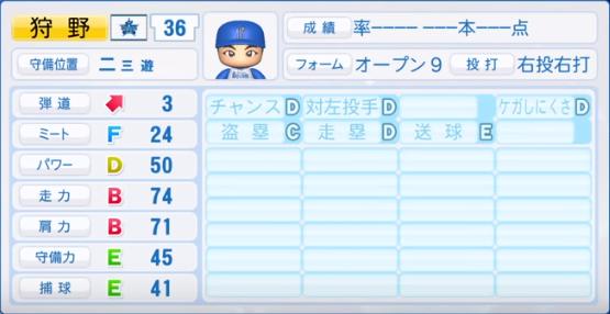 狩野_横浜ベイスターズ_パワプロ能力データ_2019年シーズン終了時