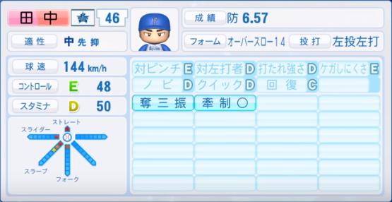 田中_横浜ベイスターズ_パワプロ能力データ_2019年シーズン終了時