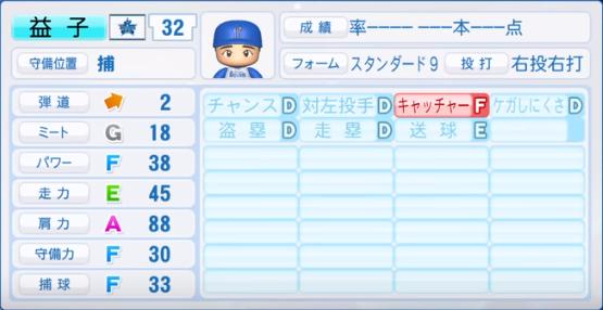 益子_横浜ベイスターズ_パワプロ能力データ_2019年シーズン終了時