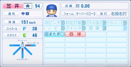 笠井_横浜ベイスターズ_パワプロ能力データ_2019年シーズン終了時