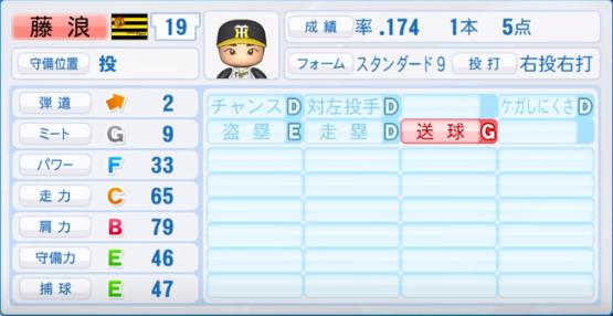 藤浪_阪神_パワプロ能力データ_2019年シーズン終了時_野手能力