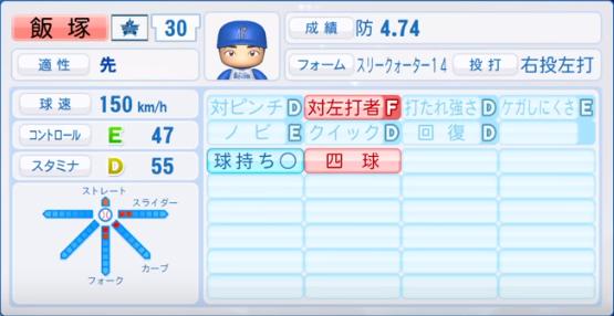 飯塚_横浜ベイスターズ_パワプロ能力データ_2019年シーズン終了時