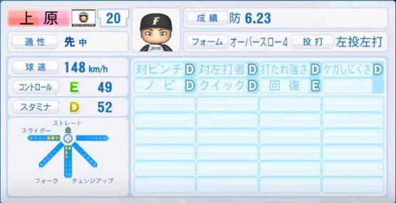 上原_日本ハムファイターズ_パワプロ能力データ_2018年シーズン終了時