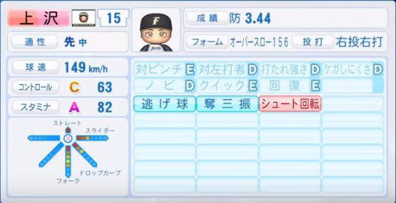 上沢_日本ハムファイターズ_パワプロ能力データ_2018年シーズン終了時