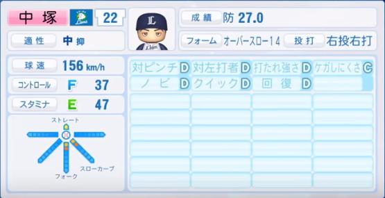 中塚_西武ライオンズ_パワプロ能力データ_2018年シーズン終了時