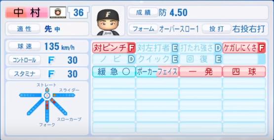 中村_日本ハムファイターズ_パワプロ能力データ_2018年シーズン終了時