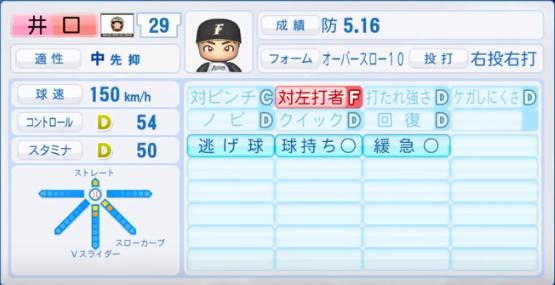 井口_日本ハムファイターズ_パワプロ能力データ_2018年シーズン終了時