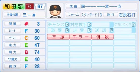 和田恋_巨人_パワプロ能力データ_2018年シーズン終了時