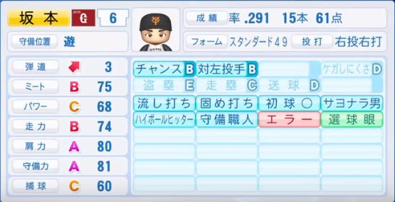 坂本勇人_巨人_パワプロ能力データ_2018年シーズン終了時