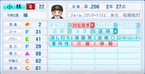 小林誠司_巨人_パワプロ能力データ_2018年シーズン終了時