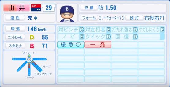 山井_中日ドラゴンズ_パワプロ能力データ_2018年シーズン終了時