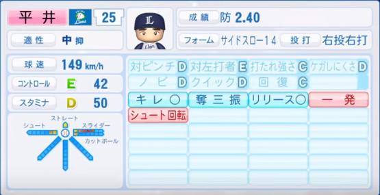 平井_西武ライオンズ_パワプロ能力データ_2018年シーズン終了時