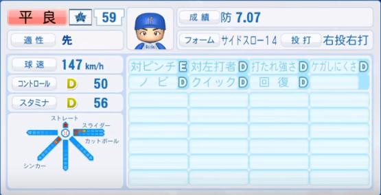 平良_横浜DeNAベイスターズ_パワプロ能力データ_2018年シーズン終了時