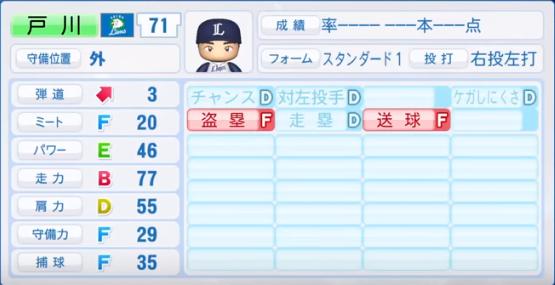 戸川_西武ライオンズ_パワプロ能力データ_2018年シーズン終了時