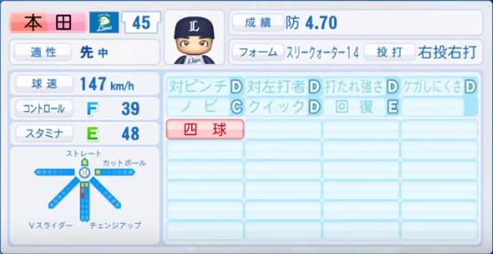 本田_西武ライオンズ_パワプロ能力データ_2018年シーズン終了時