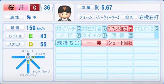 桜井_巨人_パワプロ能力データ_2018年シーズン終了時