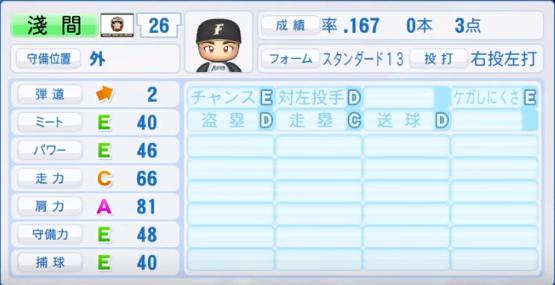 淺間_日本ハムファイターズ_パワプロ能力データ_2018年シーズン終了時