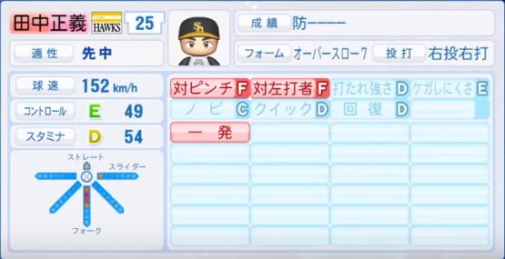 田中正義_ソフトバンクホークス_パワプロ能力データ_2018年シーズン終了時