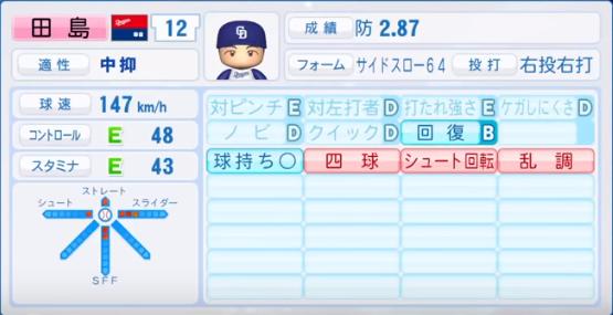 田島_中日ドラゴンズ_パワプロ能力データ_2018年シーズン終了時