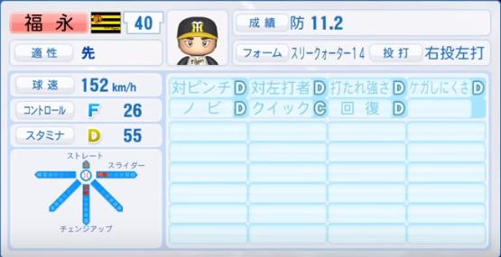 福永_阪神タイガース_パワプロ能力データ_2018年シーズン終了時