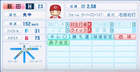 薮田_広島カープ_パワプロ能力データ_2018年シーズン終了時