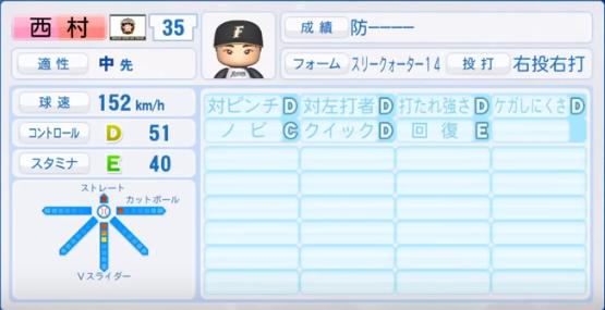 西村_日本ハムファイターズ_パワプロ能力データ_2018年シーズン終了時