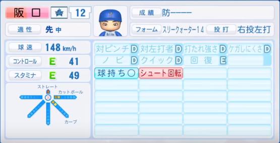 阪口_横浜DeNAベイスターズ_パワプロ能力データ_2018年シーズン終了時