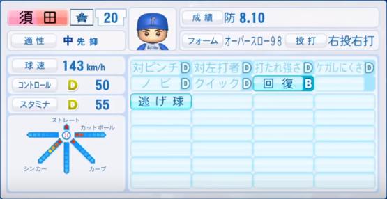 須田_横浜DeNAベイスターズ_パワプロ能力データ_2018年シーズン終了時