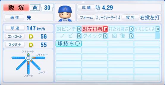 飯塚_横浜DeNAベイスターズ_パワプロ能力データ_2018年シーズン終了時