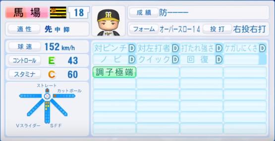 馬場_阪神タイガース_パワプロ能力データ_2018年シーズン終了時