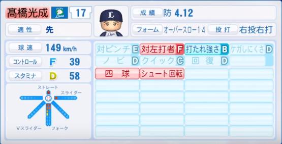 髙橋光成_西武ライオンズ_パワプロ能力データ_2018年シーズン終了時