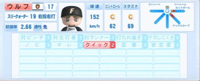 ウルフ_日本ハムファイターズ_パワプロ能力データ_2013年シーズン終了時